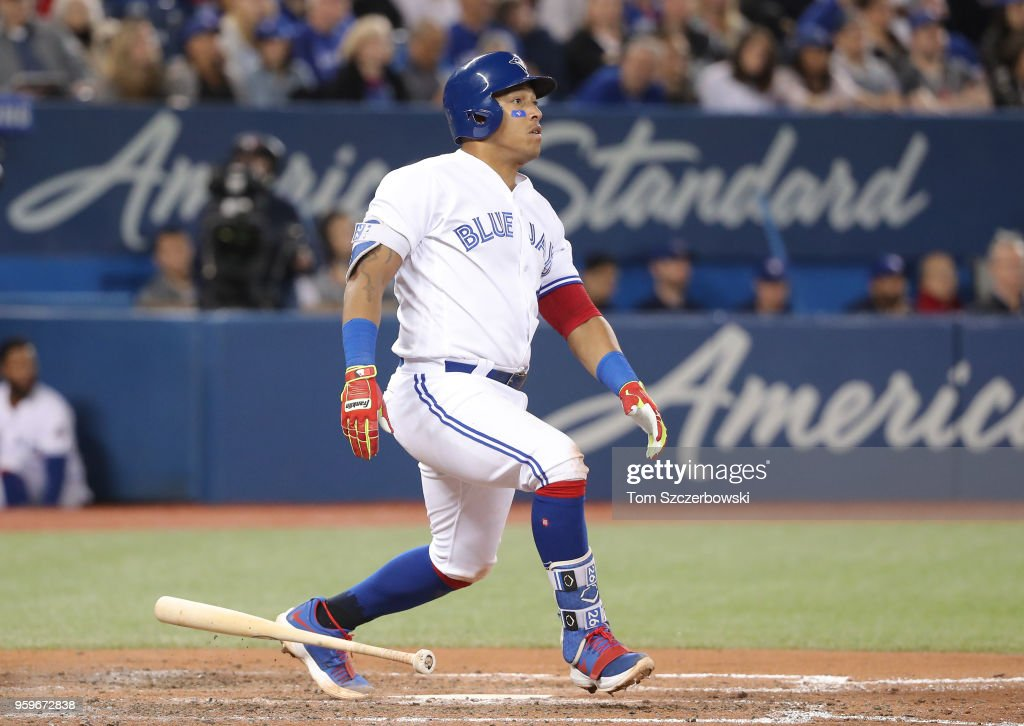 Yangervis Solarte #26 of the Toronto Blue Jays hits an RBI single in the fifth inning during MLB game action against the Oakland Athletics at Rogers Centre on May 17, 2018 in Toronto, Canada.