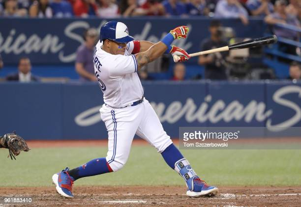 Yangervis Solarte of the Toronto Blue Jays hits an RBI single in the fifth inning during MLB game action against the Los Angeles Angels of Anaheim at...