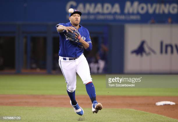 Yangervis Solarte of the Toronto Blue Jays throws out the runner at first base in the first inning during MLB game action against the Cleveland...