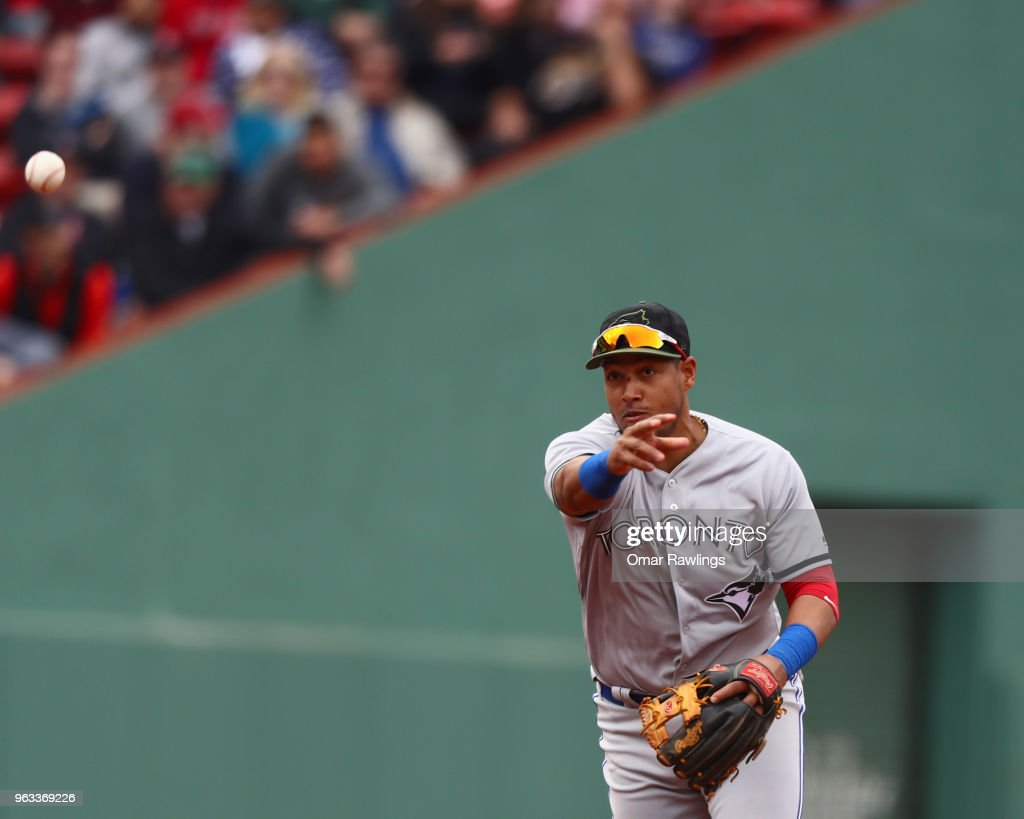 Yangervis Solarte #26 of the Toronto Blue Jays throws to first base in the bottom of the eighth inning of the game against the Boston Red Sox Fenway Park on May 28, 2018 in Boston, Massachusetts. MLB Players across the league are wearing special uniforms to commemorate Memorial Day.
