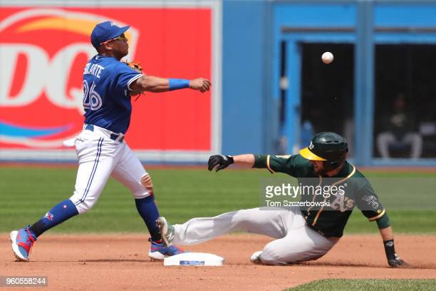 Yangervis Solarte of the Toronto Blue Jays turns a double play in the fourth inning during MLB game action as Jed Lowrie of the Oakland Athletics...