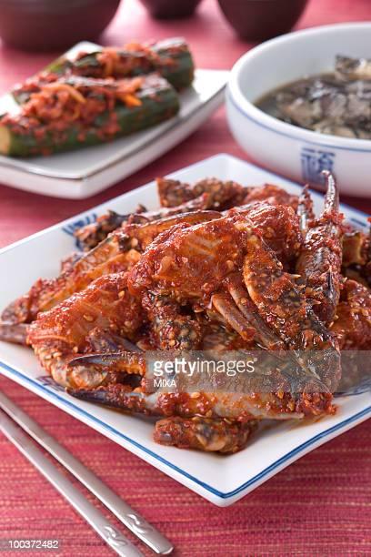 yangnyeon gaejang - chilli crab stock photos and pictures