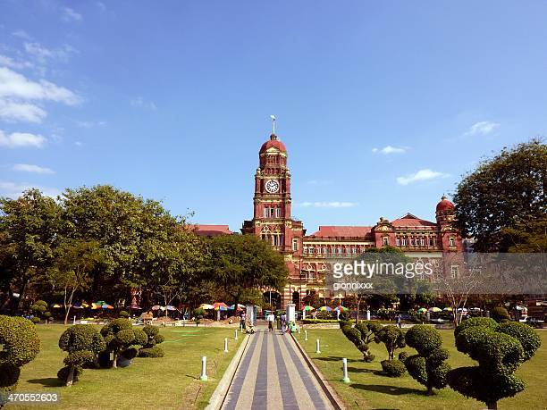 yangon high court building, myanmar - myanmar culture stock pictures, royalty-free photos & images