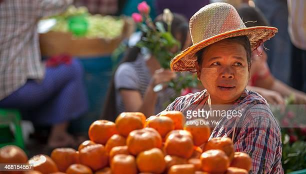 Yangon , Myanmar 18 Jan - Hawkers selling fruit at the wet market