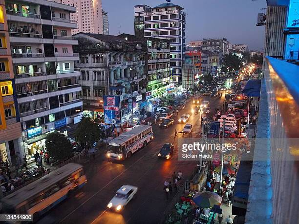 Yangon street at night