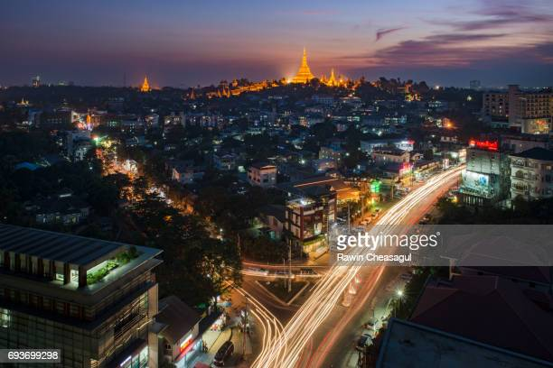 Yangon's Skyline with iconic Shwedagon Pagoda in the background