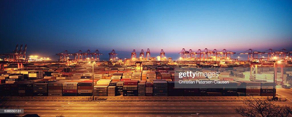Yangshan Deep-Water Port Panorama : Stock Photo