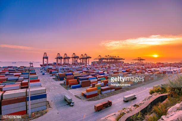 yangshan harbor of shanghai - commercial dock stock pictures, royalty-free photos & images