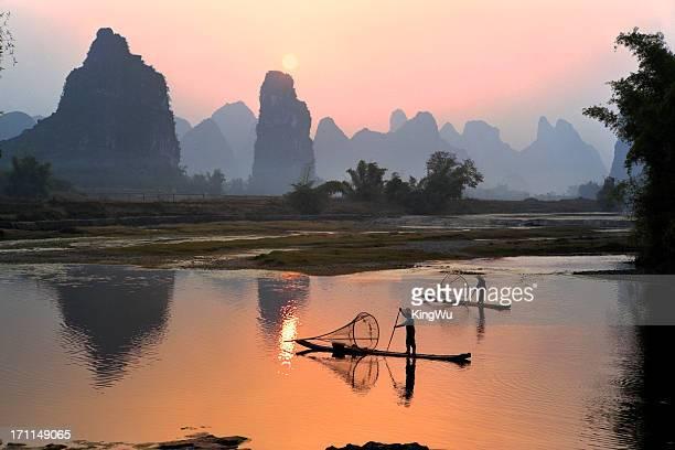 Yangshou Li-Fluss bei Sonnenuntergang