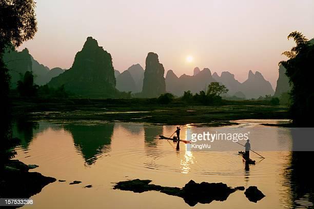 Yangshuo Li River in sunset