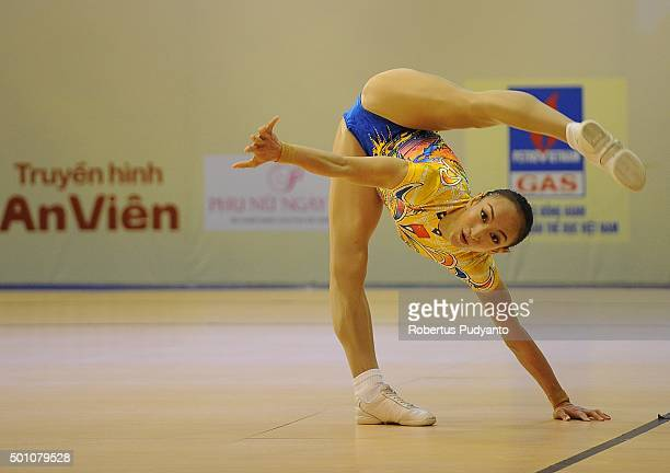 Yangyang Yu of China competes in QualificationSenior Individual Women during the 5th Asian Aerobic Gymnastics Championships at Nguyen Du Culture and...