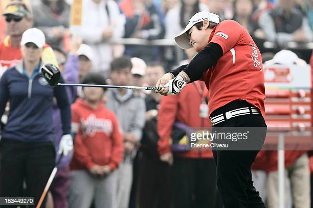 Yanhong Pan of China tees off during the final round of the Reignwood LPGA Classic at Pine Valley Golf Club on October 6 2013 in Beijing China