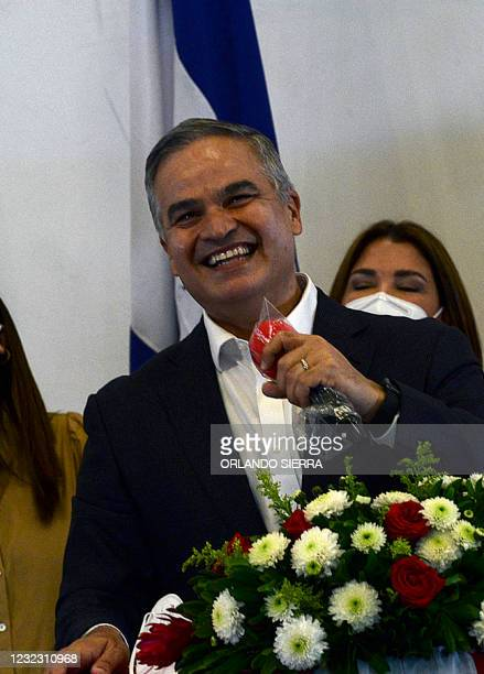 Yani Rosenthal Hidalgo, of the opposition Liberal party, delivers a speech after the National Electoral Council declared him as winner of primary...