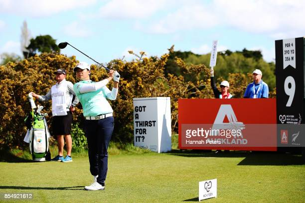 Yani Tseng of China tees off during day one of the McKayson New Zealand Women's Open at Windross Farm on September 28 2017 in Auckland New Zealand