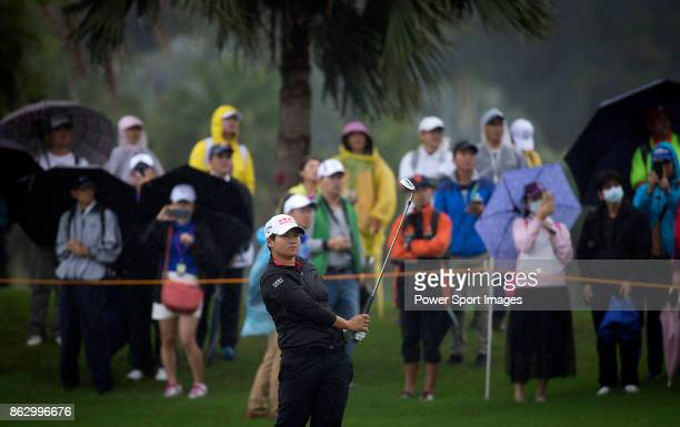 Yani Tseng of Chinese Taipei hits a shot on the second hole during day one of Swinging Skirts LPGA Taiwan Championship on October 19 2017 in Taipei...