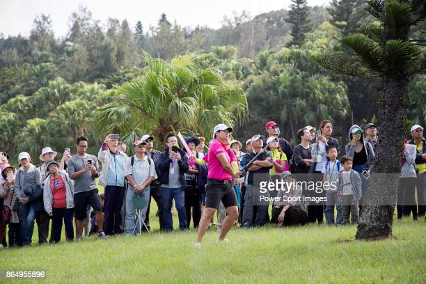 Yani Tseng of Chinese Taipei hits a shot out of the rough on the 16th hole during day four of Swinging Skirts LPGA Taiwan Championship on October 22...