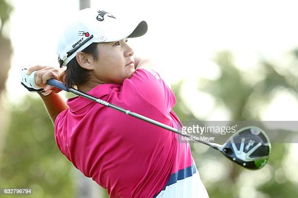 Yani Tseng of Chinese Taipei hits a tee shot on the fourth hole during round one of the Pure Silk Bahamas LPGA Classic on January 26 2017 in Paradise...
