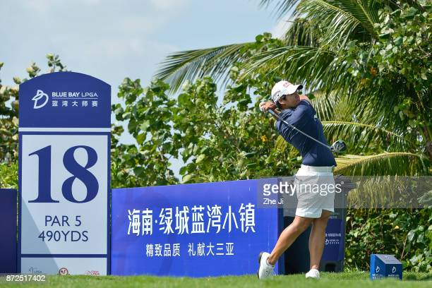 Yani Tseng of Chinese Taipei plays a shot on the 18th hole during the third round of the Blue Bay LPGA at Jian Lake Blue Bay golf course on November...