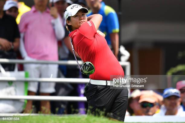 Yani Tseng of Chineses Taipei plays the shot during round one of the Honda LPGA Thailand at Siam Country Club on February 23 2017 in Chonburi Thailand