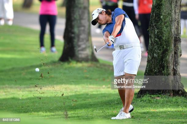 Yani Tseng of Chineses Taipei plays the shot during the Honda LPGA Thailand at Siam Country Club on February 25 2017 in Chonburi Thailand