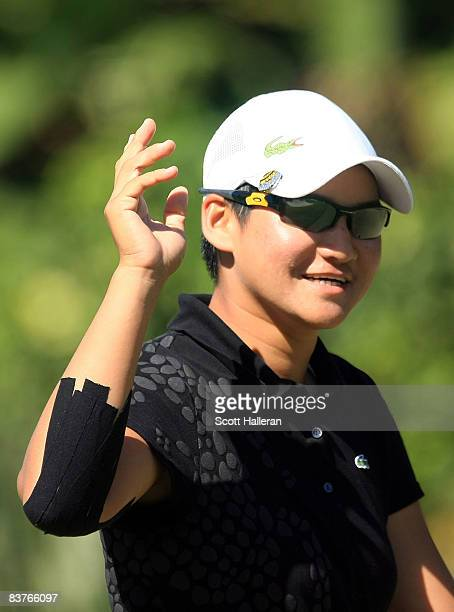 Yani Tseng of Taiwan celebrates an eagle putt on the third hole during the first round of the ADT Championship at the Trump International Golf Club...