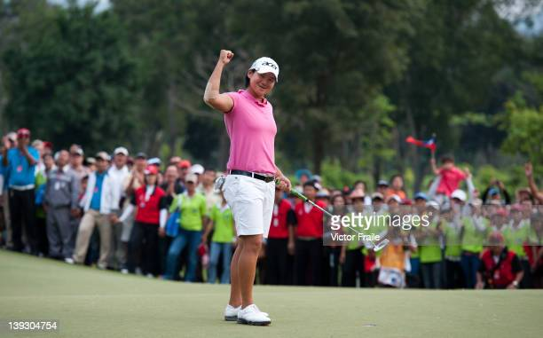 Yani Tseng of Taiwan celebrates her victory at the LPGA Thailand at Siam Country Club on February 19 2012 in Chon Buri Thailand