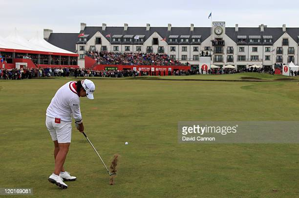Yani Tseng of Taiwan hits her 2nd shot on the 18th hole on her way to victory during the final round of the 2011 Ricoh Women's British Open at...