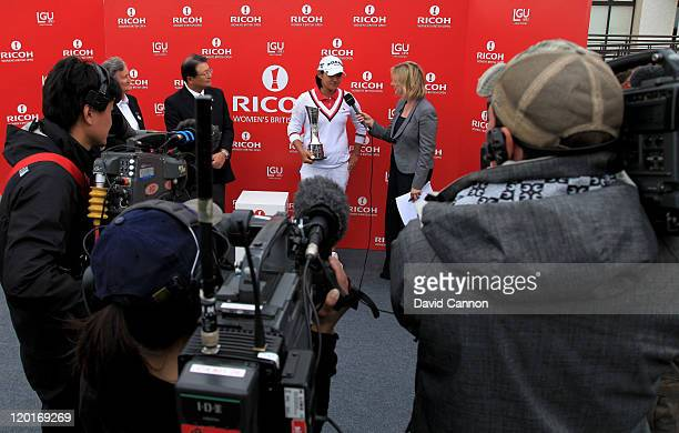 Yani Tseng of Taiwan is interviewed by Hazel Irvine of the BBC following her victory at the end of the final round of the 2011 Ricoh Women's British...