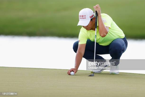 Yani Tseng of Taiwan lines up a putt on the 11th green during the second round of the LPGA LOTTE Championship at Kapolei Golf Club on April 15, 2021...