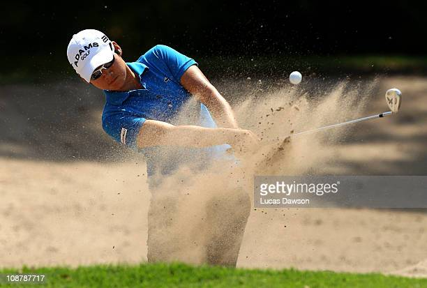 Yani Tseng of Taiwan plays a shot out of the bunker during day one of the Women's Australian Open at The Commonwealth Golf Club on February 3 2011 in...