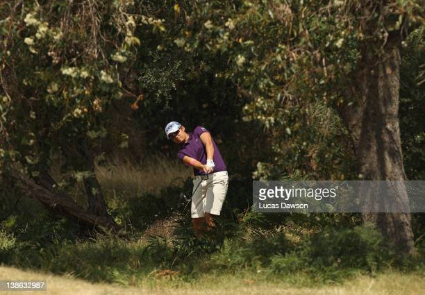 Yani Tseng of Taiwan plays a shot out of the trees during day two of the 2012 Women's Australian Open at Royal Melbourne Golf Course on February 10...