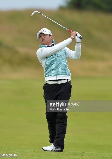 Yani Tseng of Taiwan plays her second shot to the 11th hole during the first day of the Aberdeen Asset Management Ladies Scottish Open at Dundonald...