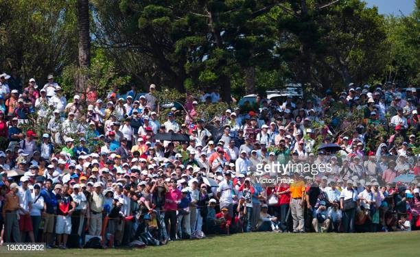 Yani Tseng' supporters stand on the 1st green during day four of the Sunrise LPGA Taiwan Championship 2011 at Sunrise Golf Course on October 23 2011...