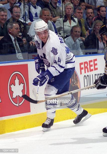 Yanic Perreault of the Toronto Maple Leafs skates against the Pittsburgh Penguins during the 1999 Quarter Finals of the NHL playoff game action at...