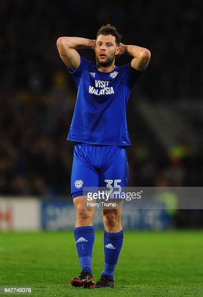 Yanic Wildschut of Cardiff City reacts during the Sky Bet Championship match between Cardiff City and Wolverhampton Wanderers at the Cardiff City...