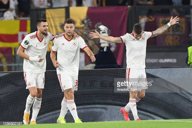 September 16 : Yanic Wildschut of CSKA Sofia celebrates with his team mates after scoring a goal during the Conference League match between AS Roma...