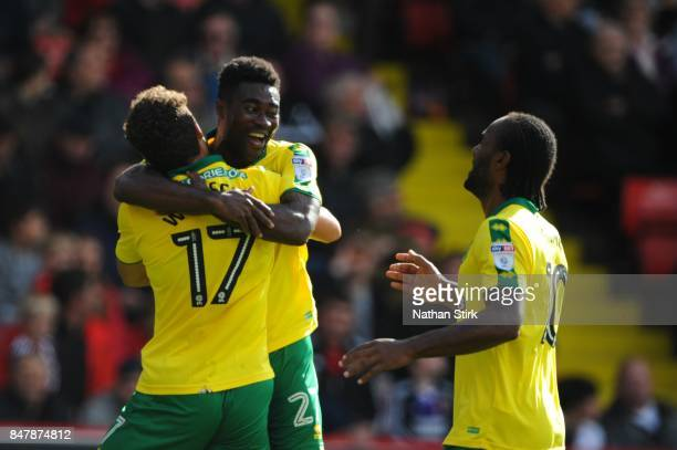 Yanic Wildschut of Norwich celebrates with Alexander Tettey after scoring during the Sky Bet Championship match between Sheffield United and Norwich...