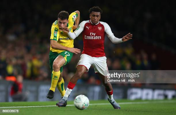 Yanic Wildschut of Norwich City and Alex Iwobi of Arsenal during the Carabao Cup Fourth Round match between Arsenal and Norwich City at Emirates...