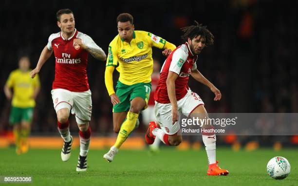 Yanic Wildschut of Norwich City and Mohamed Elneny of Arsenal in action during the Carabao Cup Fourth Round match between Arsenal and Norwich City at...