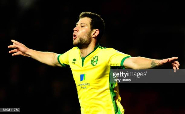 Yanic Wildschut of Norwich City celebrates his sides first goal during the Sky Bet Championship match between Bristol City and Norwich City at Ashton...