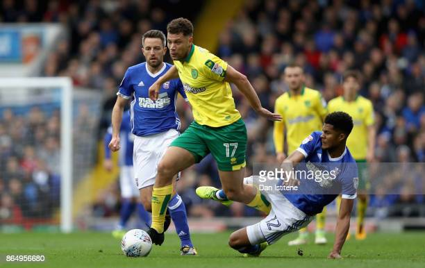Yanic Wildschut of Norwich City escapes a challenge from Jordan Spence of Ipswich during the Sky Bet Championship match between Ipswich Town and...