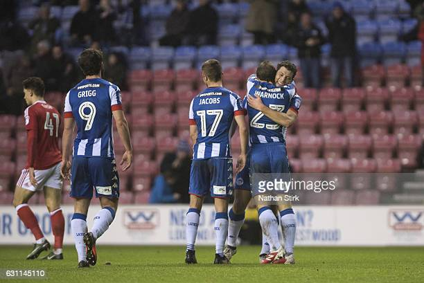 Yanic Wildschut of Wigan Athletic celebrates after scoring the second goal during the Emirates FA Cup Third Round match between Wigan Athletic and...