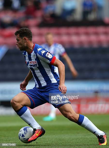 Yanic Wildschut of Wigan Athletic controls the ball during the Sky Bet Championship League match between Wigan Athletic and Blackburn Rovers at DW...