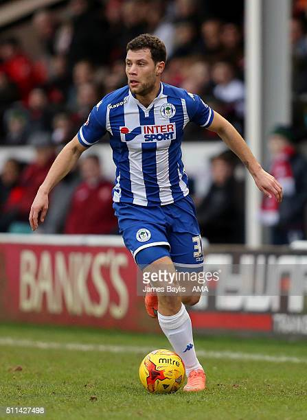 Yanic Wildschut of Wigan Athletic during the Sky Bet League One match between Walsall and Wigan Athletic at Bescot Stadium on February 20 2016 in...