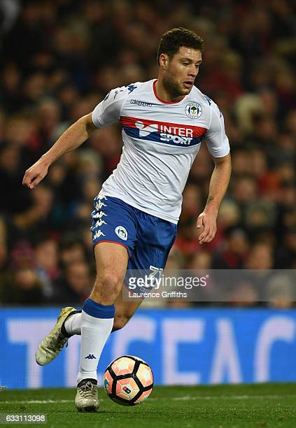 Yanic Wildschut of Wigan Athletic in action during the Emirates FA Cup Fourth Round match between Manchester United and Wigan Athletic at Old...