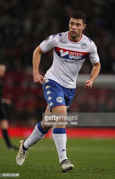 Yanic Wildschut of Wigan Athletic in action during the FA Cup fourth round match between Manchester United and Wigan Athletic at Old Trafford on...