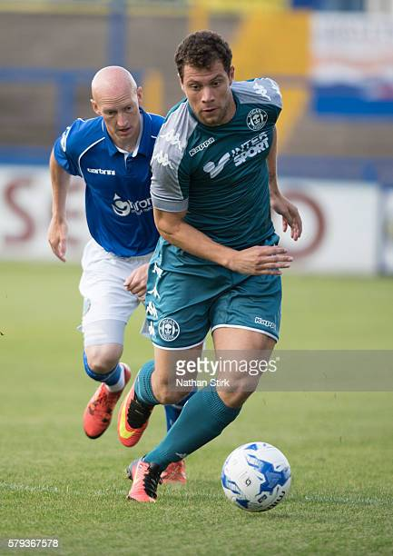 Yanic Wildschut of Wigan Athletic in action duringthe PreSeason Friendly between Macclesfield Town and Wigan Athletic at Moss Rose Ground on July 20...