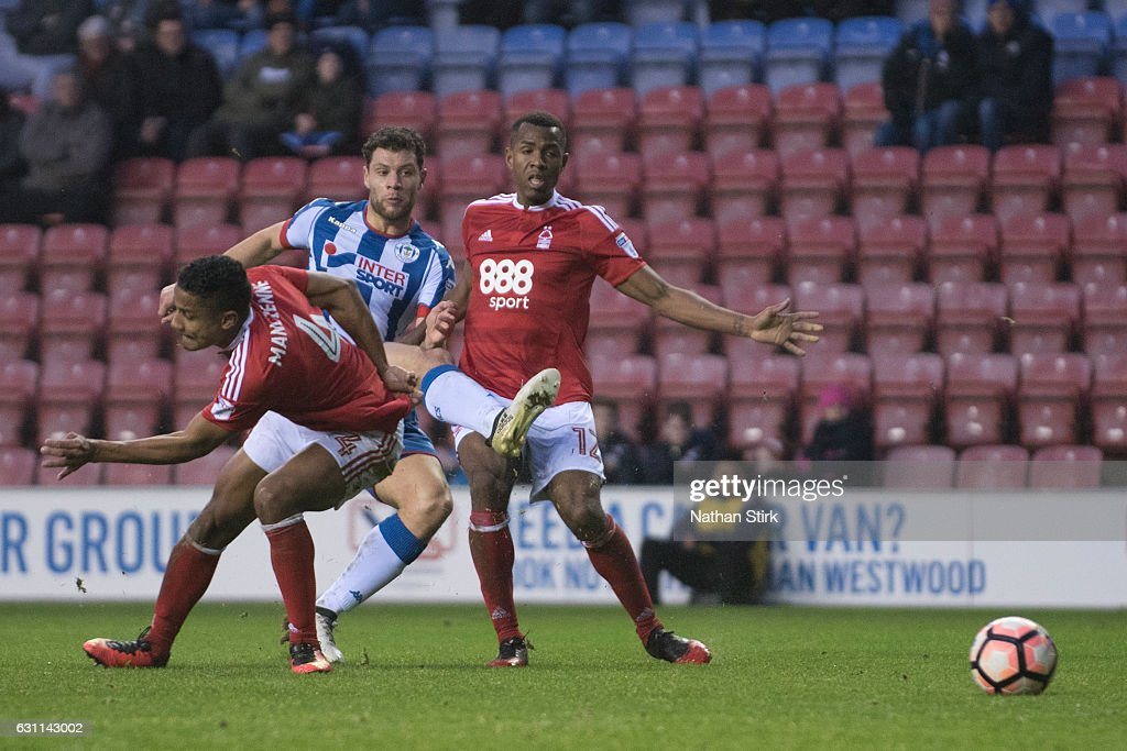 Yanic Wildschut of Wigan Athletic scores the second goal during the Emirates FA Cup Third Round match between Wigan Athletic and Nottingham Forest at the DW Stadium on January 7, 2017 in Wigan, England (Photo by Nathan Stirk/Getty Images).