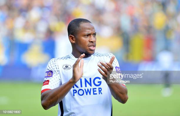 Yanick Aguemon of OH Leuven applauds the travelling fans after the Proximus League match between Royal Union SaintGilloise and OH Leuven at Stade Roi...