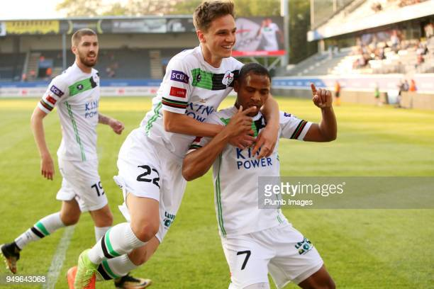 Yanick Aguemon of OH Leuven celebrates with Daan Vekemans of OH Leuven after scoring to make it 12 during the Belgian First Divison A Europa League...